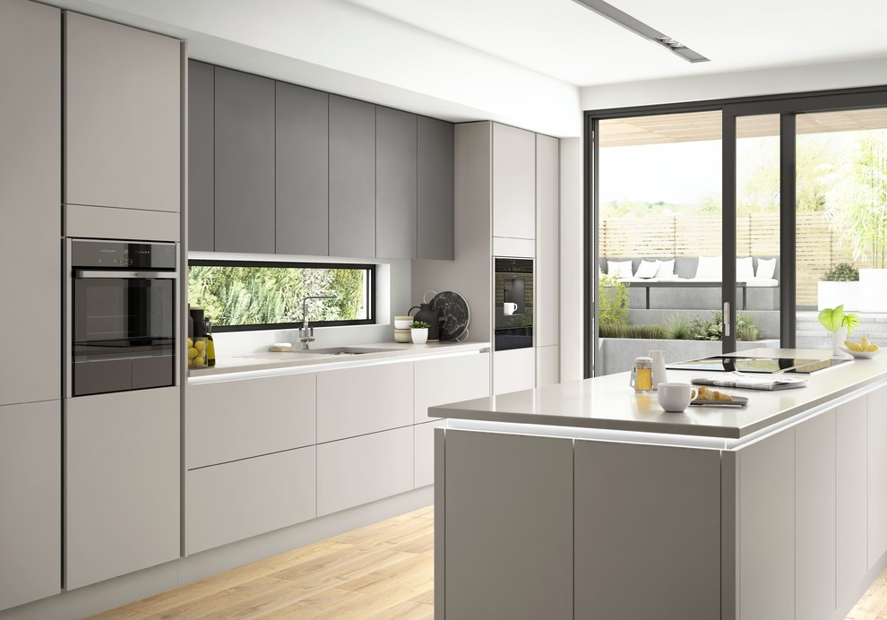 Benchmarx True Handleless Kitchen Eton Matt Carbon Matt Dove Grey Modern Kitchen Other By Benchmarx Kitchens Joinery