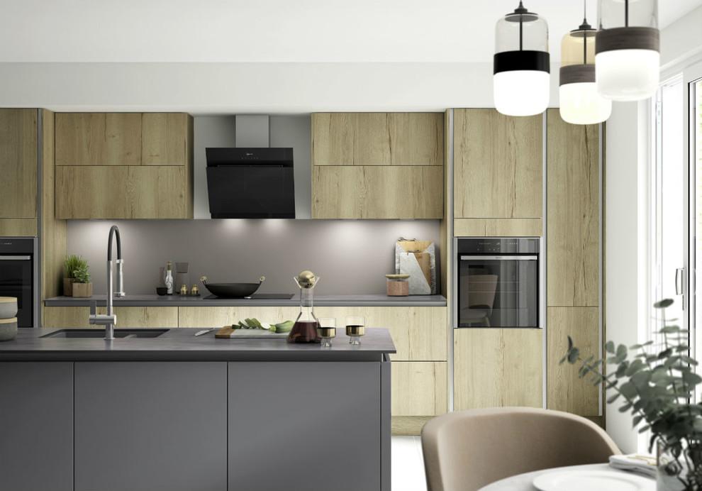 Benchmarx True Handleless Kitchen Richmond Oak Eton Matt Carbon Modern Kitchen Other By Benchmarx Kitchens Joinery