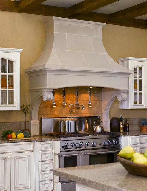 Bentwood Cast Stone Kitchen Range Hood Mediterranean Kitchen