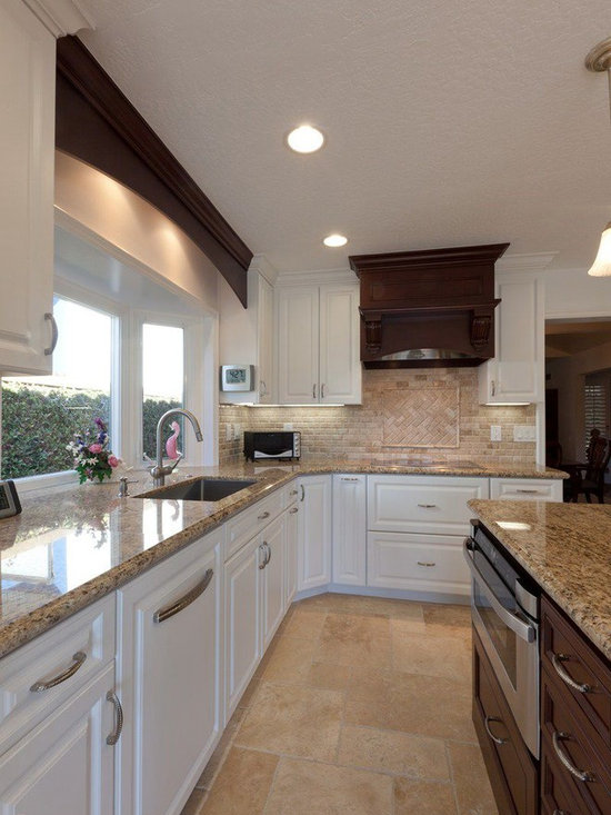 White Kitchen Cabinet Travertine Subway Backsplash Tile Pictures to