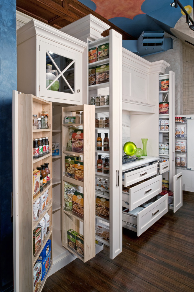 Small elegant dark wood floor kitchen pantry photo in New York with recessed-panel cabinets, white cabinets, marble countertops, a farmhouse sink, gray backsplash, mosaic tile backsplash, paneled appliances and no island