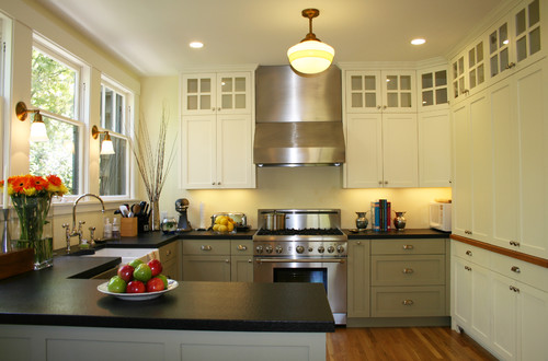 green and grey kitchen gray green cabinet color 3958