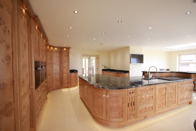Bespoke Burr Oak Kitchen With Walk In Pantry And Large Island Contemporary Kitchen East