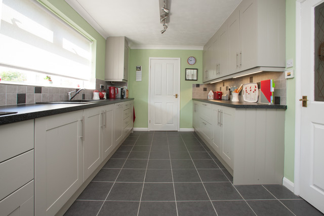Bespoke mint green and light grey painted kitchen for Grey green kitchen cabinets
