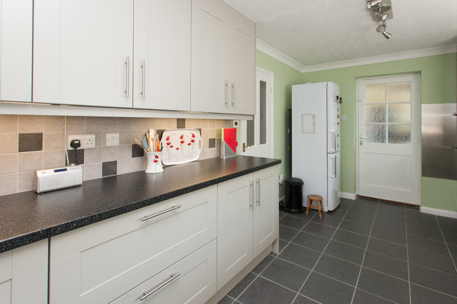 Bespoke Mint Green and Light Grey Painted Kitchen contemporary kitchen