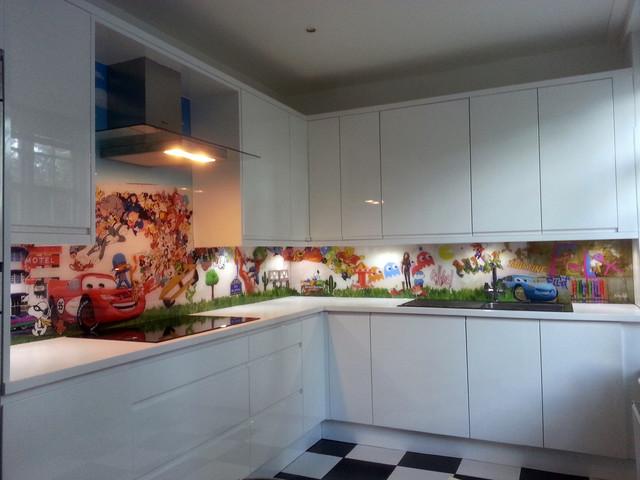 Bespoke Printed Retro Cartoon Kitchen Splashback Modern Kitchen London By Glartique Houzz Au