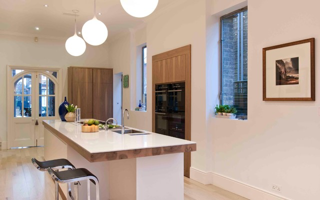 Bespoke walnut kitchen cabinetry contemporary kitchen london by giq design Bespoke contemporary kitchen design
