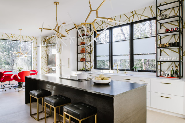 A Chic Modern Kitchen In Black White And Brass