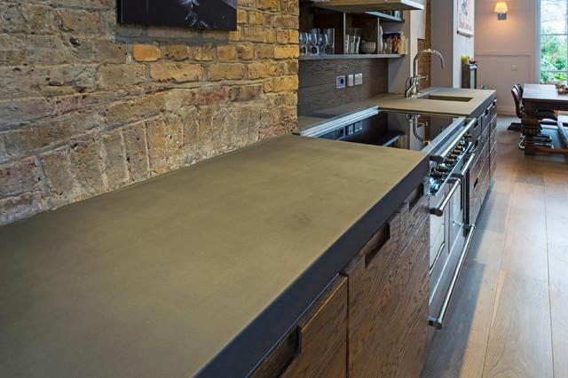 B ton cir kitchen worktop island - Beton cire escalier bois ...