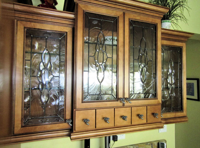 Beveled Cabinet Glass Inserts - Roy Residence - Traditional ...