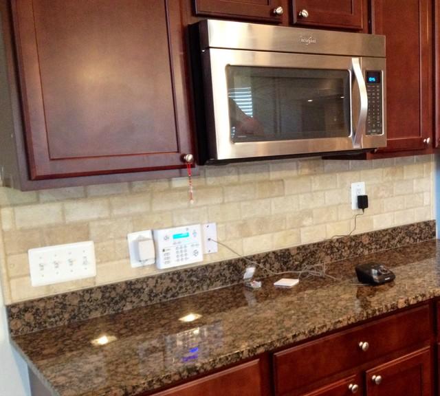 Travertine Kitchen Backsplash: Beveled Travertine Subway Tile Backsplash