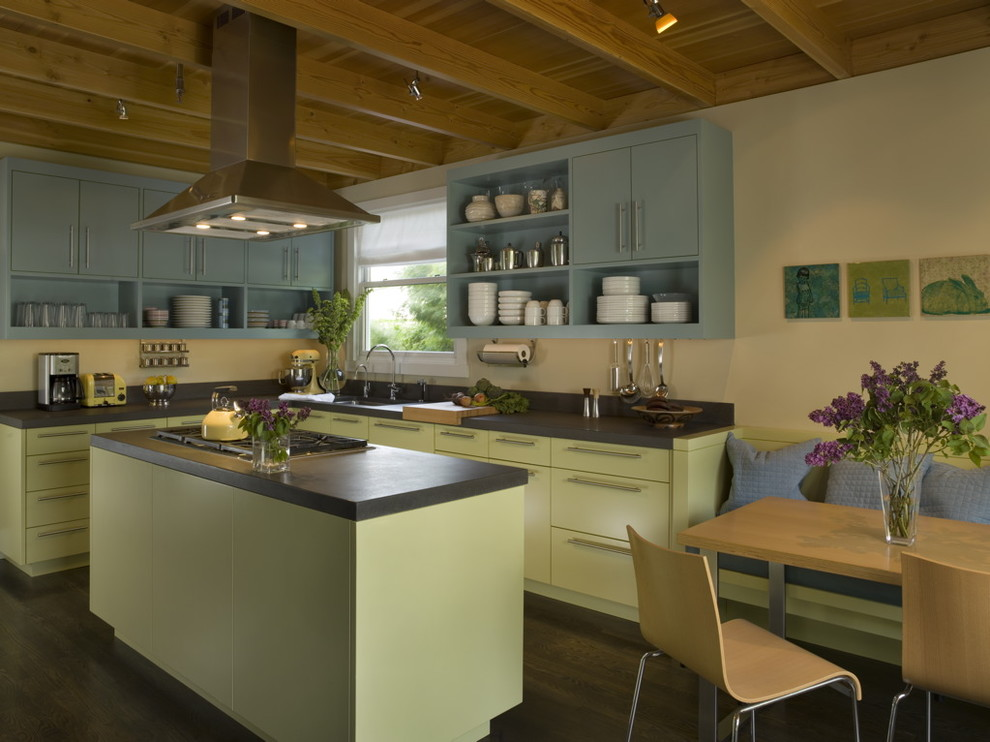 Example of a mid-sized eclectic l-shaped dark wood floor open concept kitchen design in San Francisco with open cabinets, green cabinets, black backsplash, an island and an undermount sink