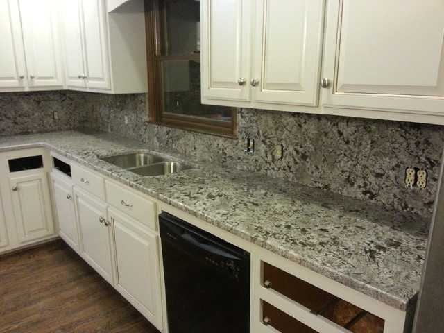 ... and full height granite back splash traditional-kitchen-countertops