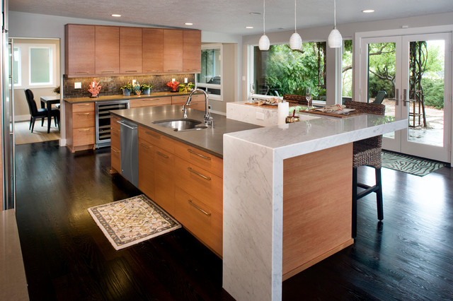 Birch Cabinets Concrete And Caesarstone Island