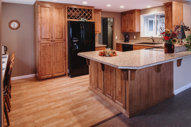 Birch Kitchen Cabinets, Wine Rack, Laminate Counter Top Craftsman Kitchen