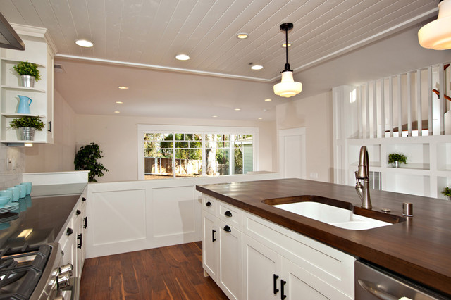 Birch White Shaker Wood Countertop Traditional Kitchen