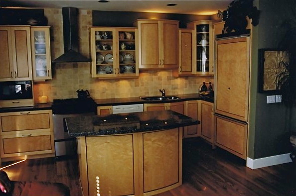 Birdseye maple kitchen contemporary kitchen calgary for Birdseye maple kitchen cabinets