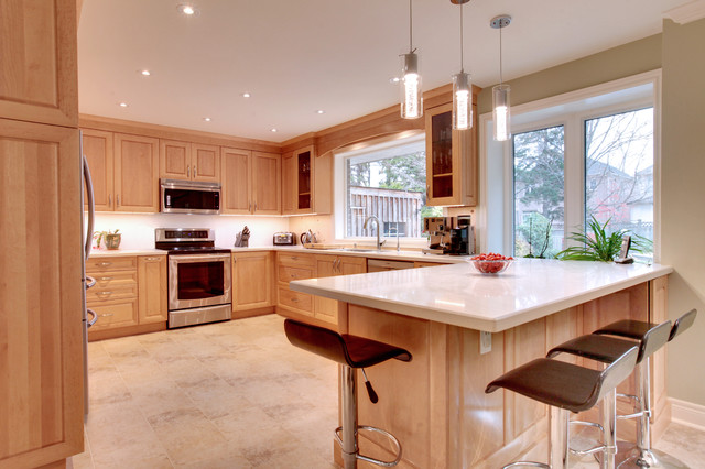 Birdseye maple kitchen transitional kitchen toronto for Birdseye maple kitchen cabinets
