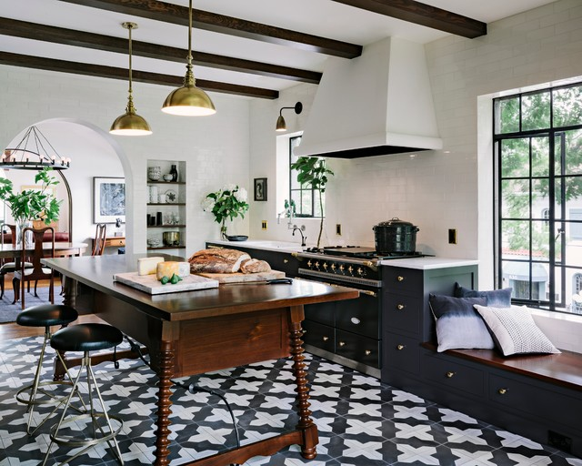 Black-and-White Badajoz for a Stylish Portland Condo traditional-kitchen