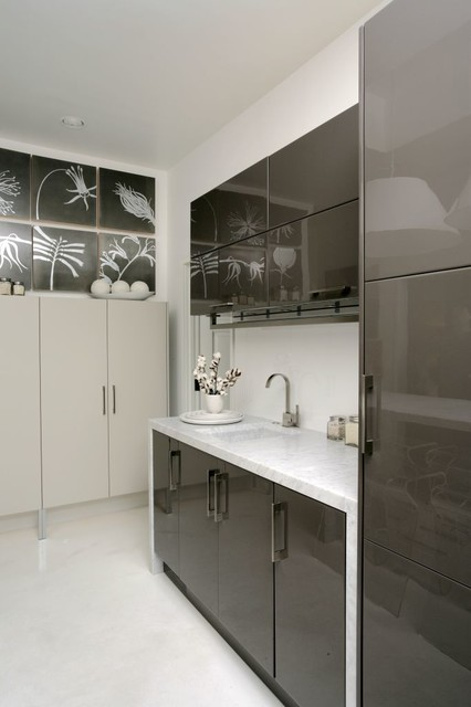 Black And White Contemporary Kitchen Contemporary Kitchen Other Metro