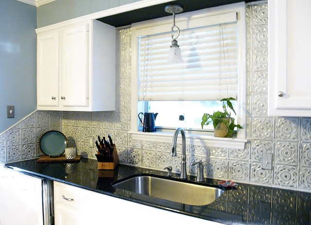 black and white kitchen contemporary kitchen - Kitchen Metal Backsplash