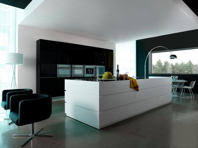 Black and white kitchen modern kitchen phoenix by for Black and white contemporary kitchen