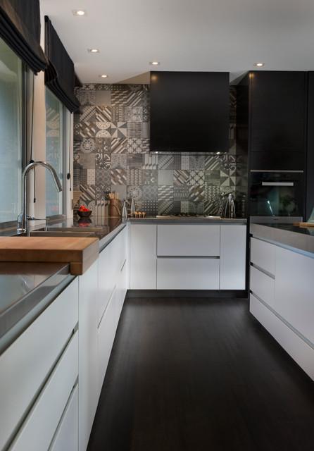 black white kitchen nz contemporary kitchen - Black And White Kitchen Nz