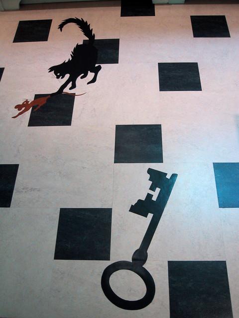 Black And White Linoleum Tile Inlay Floor Contemporary