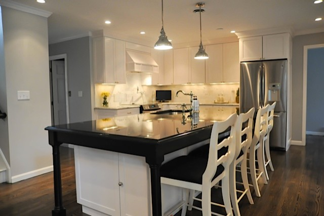 Black and white traditional kitchen boston by for Black and white traditional kitchen