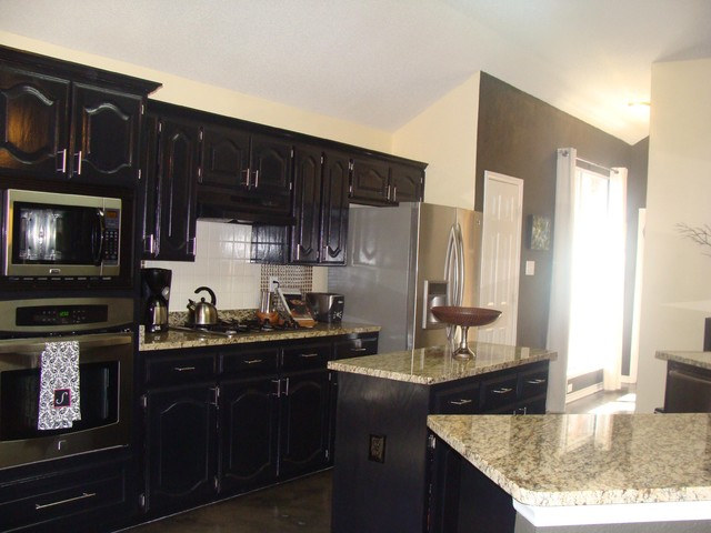 Black cabinet kitchen contemporary kitchen dallas for Kitchen cabinets houzz