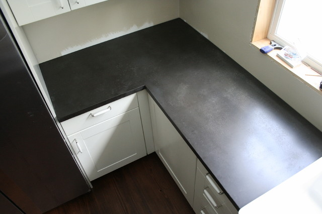 Black Concrete Counter Tops Traditional Kitchen Tampa By Greenstone Concrete Designs