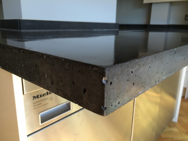 Black Concrete Lsland And L Shaped Concrete Worktop