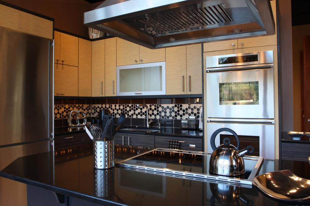 Black Galaxy Granite Countertop Contemporary Kitchen
