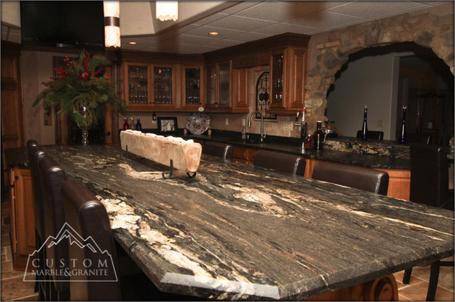 Black Granite Table - Tuscan Kitchen - Mediterranean - Kitchen ...
