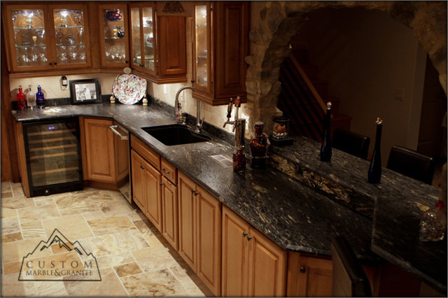 Exceptional Black Granite Table   Tuscan Kitchen Mediterranean Kitchen