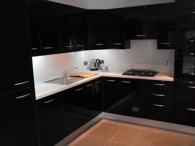 Kitchen Modern Black black gloss kitchen tiles - aralsa
