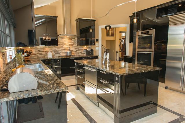 Black high gloss kitchen - Contemporary - Kitchen - New ...