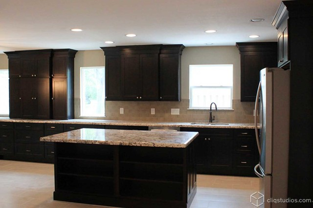 Black kitchen cabinets traditional kitchen houston for Black kitchen cabinets images