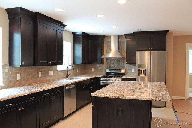 Black kitchen cabinets traditional kitchen houston for Black kitchen cabinets