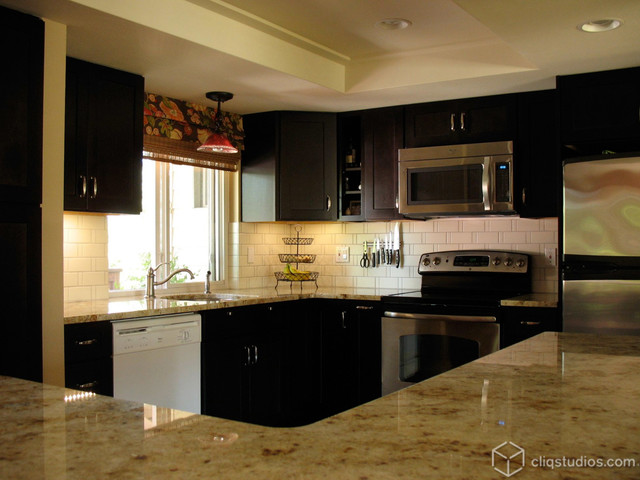 Contemporary Kitchen With Dark Sable Mission Kitchen Cabinets From