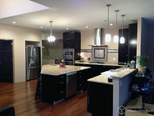 black kitchen cabinets modern kitchen richmond by cliqstudios cabinets. Black Bedroom Furniture Sets. Home Design Ideas