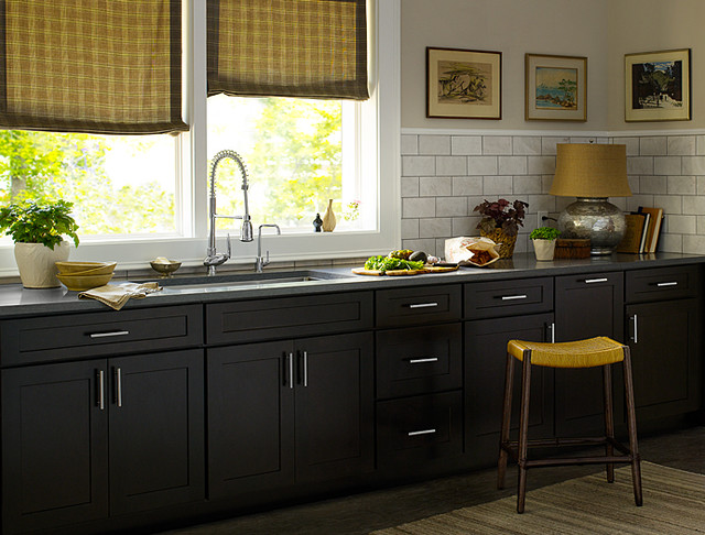 Black kitchen cabinets dayton door style cliqstudios Black cabinet kitchens pictures