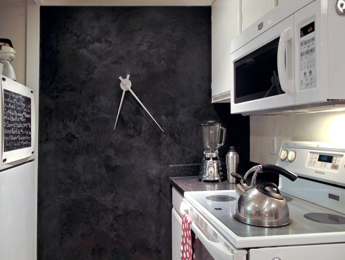 black kitchen wall eclectic kitchen