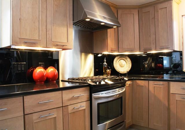 black mirror backsplash contemporary kitchen