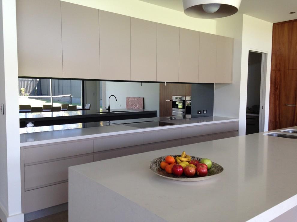 Black Mirror Splashback Contemporary Kitchen Adelaide By Adelaide Precision Glass
