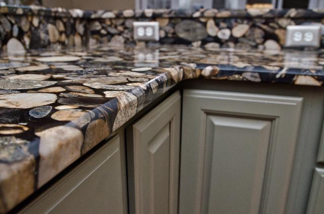 Black Mosaic Gold Granite Marinace Granite Kitchen Traditional Dc Metro By