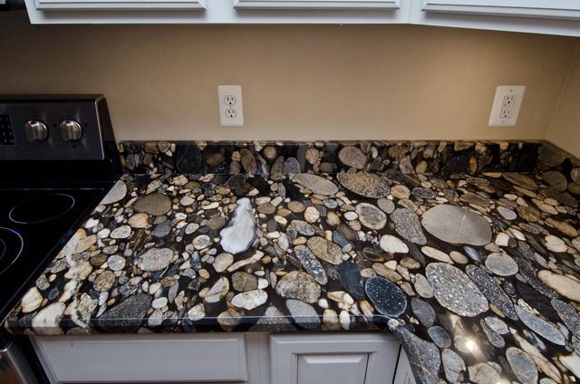 Black Mosaic Gold Granite/ Marinace Granite Kitchen - Traditional ...