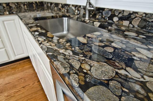 Black Mosaic Gold Granite/ Marinace Granite Kitchen traditional-kitchen