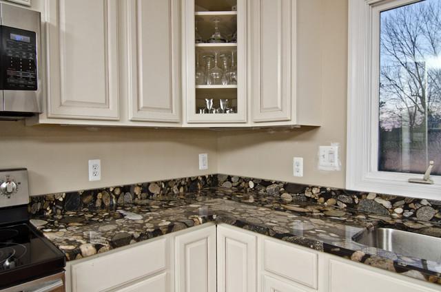 Kitchen latest design kitchen and decor - Black Mosaic Gold Granite Marinace Granite Kitchen