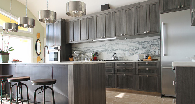 Black Residence Contemporary Kitchen Tampa By TTHES DESIGN - Dark gray stained cabinets